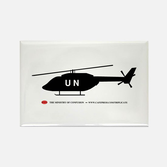 Black UN Helicopter Rectangle Magnet