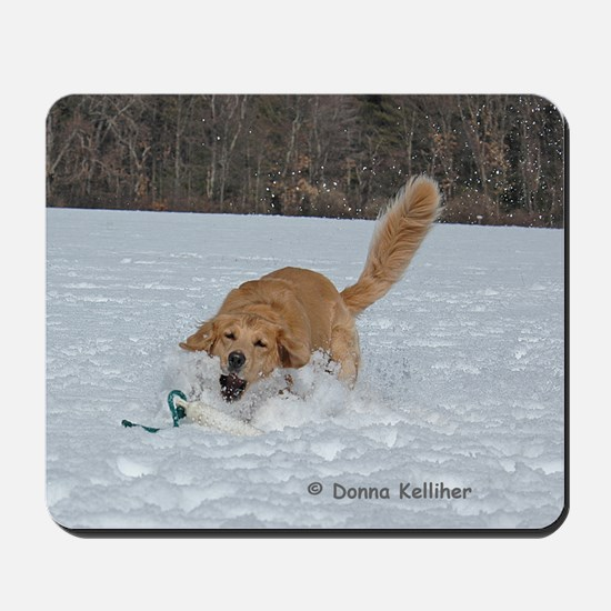 Golden Retrieving in the Snow Mousepad