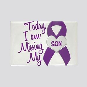 Missing My Son 1 PURPLE Rectangle Magnet