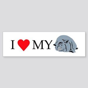 I Love My Pot Bellied Pig 2 Sticker (Bumper)