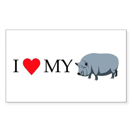 I Love My Pot Bellied Pig (1) Sticker (Rectangle)