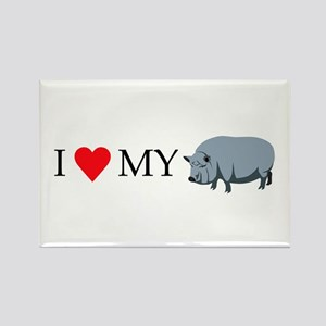 I Love My Pot Bellied Pig (1) Rectangle Magnet