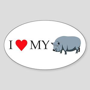 I Love My Pot Bellied Pig (1) Sticker (Oval)