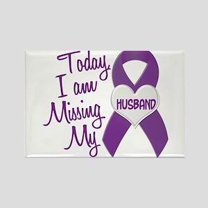 Missing My Husband 1 PURPLE Rectangle Magnet