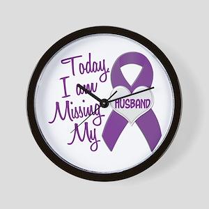 Missing My Husband 1 PURPLE Wall Clock