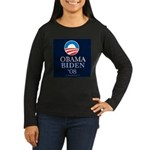 """Obama-Biden 08"" Women's Long Sleeve Bla"