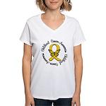 ChildhoodCancerButterfly Women's V-Neck T-Shirt