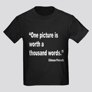 Picture Thousand Words Proverb (Front) Kids Dark T