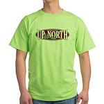 Up North Nortwoods Snowmobiler Green T-Shirt