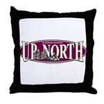 Up North Nortwoods Snowmobiler Throw Pillow