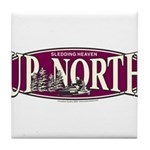 Up North Nortwoods Snowmobiler Tile Coaster