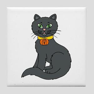Black Cat Tile Coaster