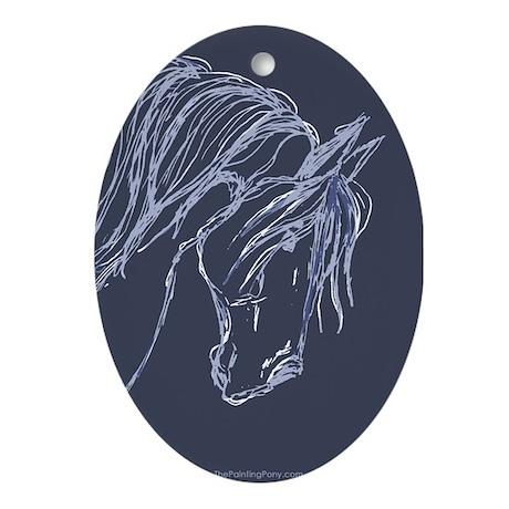 Friesian Horse Oval Ornament