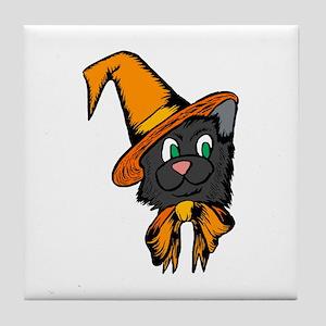 Black Cat in Hat Tile Coaster
