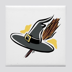 Brooms & Witches hat Tile Coaster