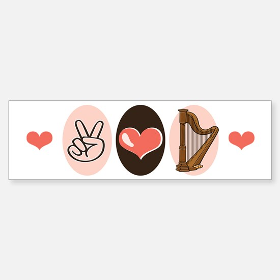 Peace Love Harp Bumper Bumper Bumper Sticker