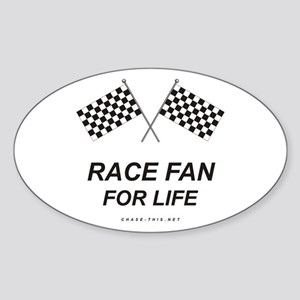Checker Flag Race Life Oval Sticker