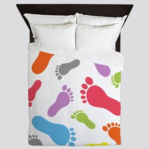 Barefoot Barefeet Colorful Queen Duvet