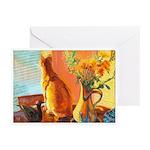 223 - Cat Sammy Sunset Greeting Cards