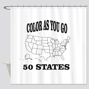 color as you go 50 states help Shower Curtain