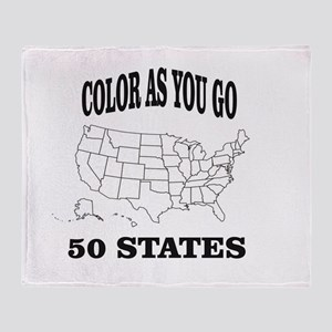 color as you go 50 states help Throw Blanket
