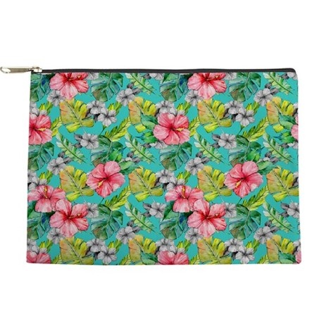 Tropical Watercolor Floral Makeup Bag