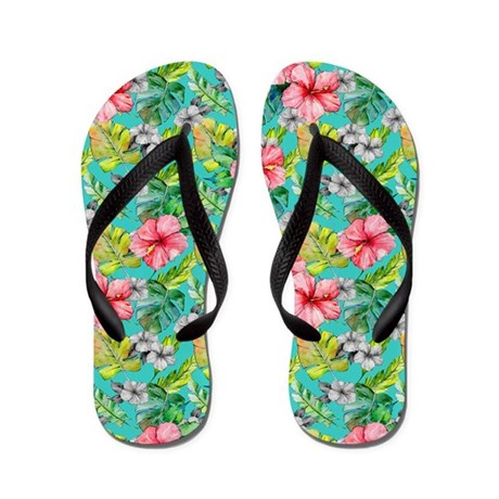Tropical Watercolor Floral Flip Flops