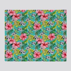 Tropical Watercolor Floral Throw Blanket