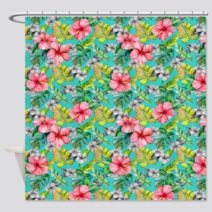 Tropical Watercolor Floral Shower Curtain