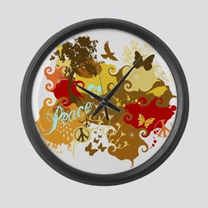 Peace Abstract Art Large Wall Clock