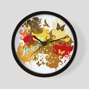 Peace Abstract Art Wall Clock