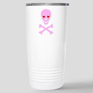 Pink Skull & Crossbones Stainless Steel Travel Mug