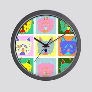 Colorful West Highland Terrier Wall Clock