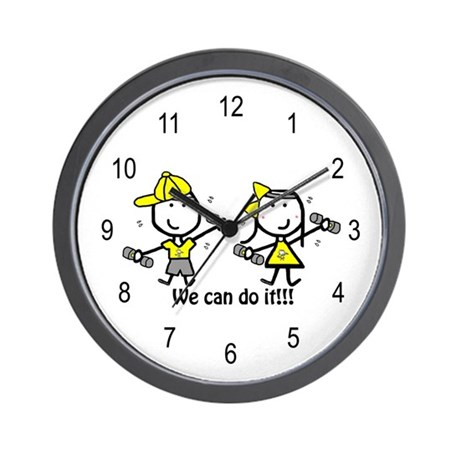 Exercise Yellow - Boy & Girl Wall Clock