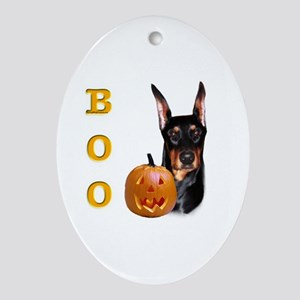 Dobie Boo Oval Ornament