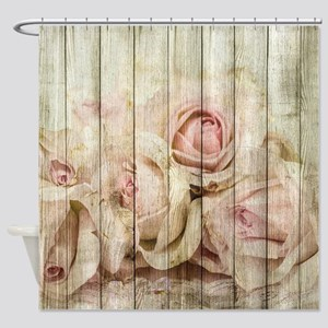 Shabby Chic Country Floral Rose Woo Shower Curtain