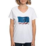 Wavy Burbank Flag Women's V-Neck T-Shirt