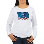Wavy Burbank Flag Women's Long Sleeve T-Shirt
