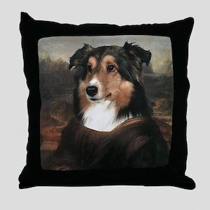 Sheltie MONA LISA Throw Pillow