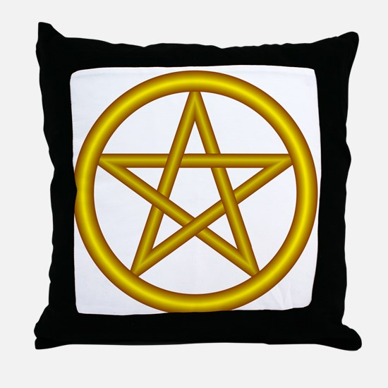 Unicorn Gold Pentagram Throw Pillow
