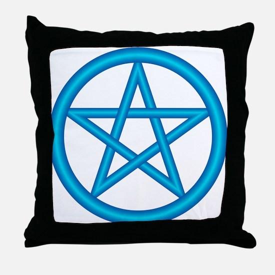 Powder Blue Pentagram Throw Pillow