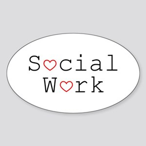 Social Work Hearts Oval Sticker