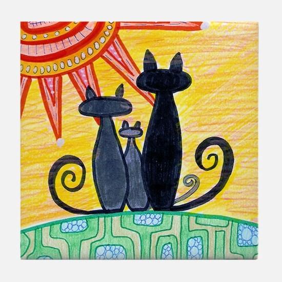 Sunrise Cats Tile Coaster