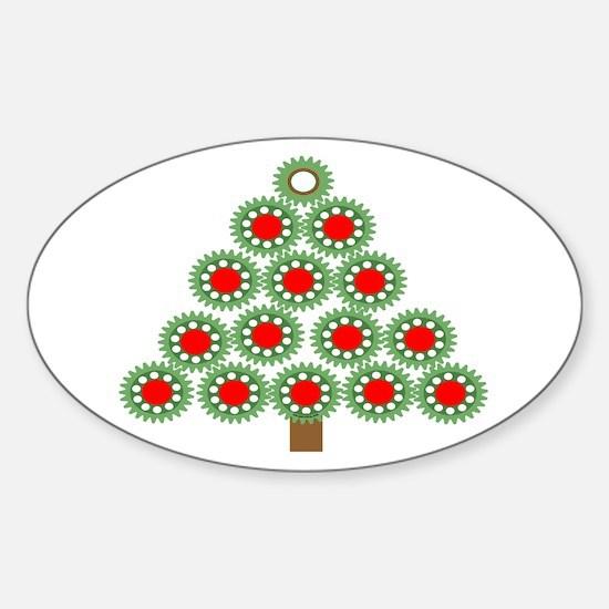 Mechanical Christmas Tree Sticker (Oval)