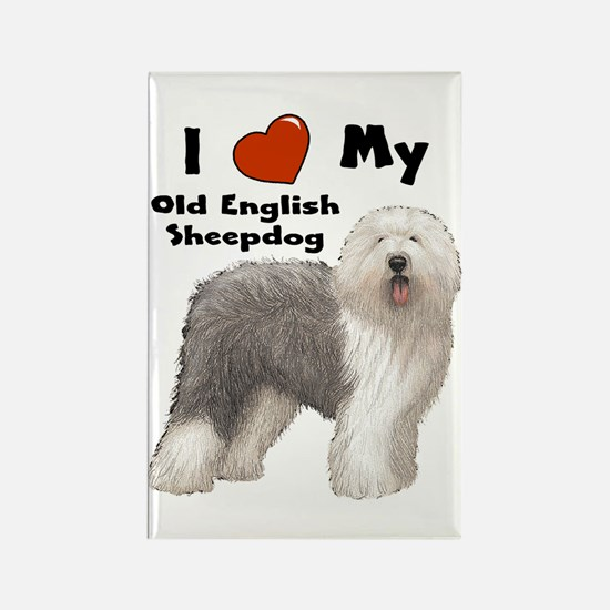 I Love My English Sheepdog Rectangle Magnet