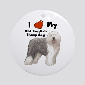 I Love My English Sheepdog Ornament (Round)
