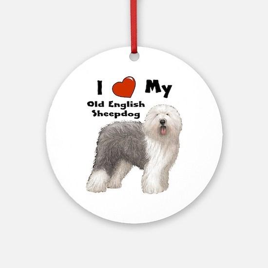 I Love My English Sheepdog Ornament (Round)