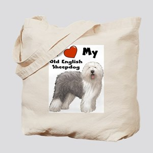 I Love My English Sheepdog Tote Bag