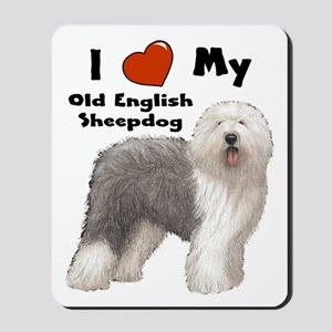 I Love My English Sheepdog Mousepad