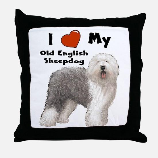 I Love My English Sheepdog Throw Pillow